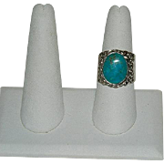Custom Made Turquoise Cigar Band Ring of Sterling Silver