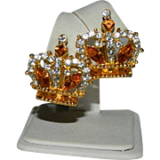 Unsigned Beauties Amber Rhinestone Crown Earrings Pierced Ears Converted
