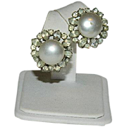 Very Old Faux Pearl Paste Stone Omega Back Earrings