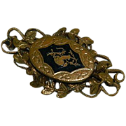 Early Costume Brass Filigree Enamel Bar Brooch