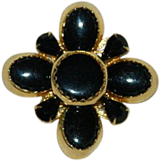 Massive Black Maltese Style Cross Brooch