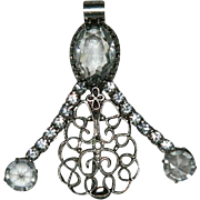 Art Deco Rock Crystal Sterling Figural Brooch ~ Pendant