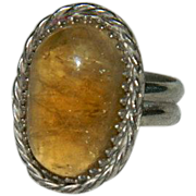 Hand Made 10ct Citrine Sterling Silver Ring sz 7
