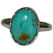 Demure Campitos Turquoise Sterling Silver Ring sz 7