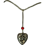 Dramatic Edwardian Red Crystal Lavalier Heart Repousse Necklace