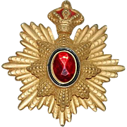 Massive Red Crowned Maltese Cross Pendant ~ Brooch