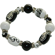 Fun Art Glass Musical Themed Stretch Bracelet