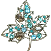 Vintage Brilliant Rhinestone Fall Leaf Brooch Blues Smokey Stones