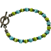 Glowing Green & Blue Cat Eye Beaded Bracelet Sterling Silver