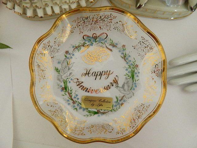 Vintage Lefton Anniversary Plate ~ 14kt gold trim Crystal