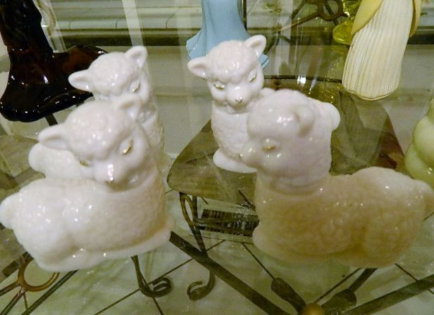"White Milk Glass Avon ""Little Lamb"" Cologne Bottles"