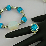 Hand Made Robin Egg Blue Glass Messy Wrapped Ring Sterling Silver