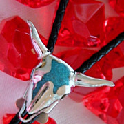 Vintage Turquoise Bolo Tie ~ Long Horn Skull