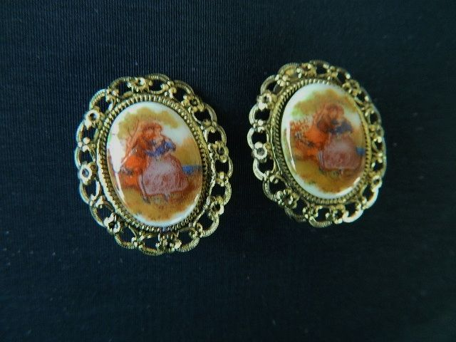 "Victorian Revival ""Limoges"" Earrings"