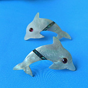 FREE SHIPPING! Inlay Mother of Pearl Dolphin Earrings, Pierced!