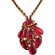 50% OFF Vintage Ruby Red Rhinestone & Molded Glass Necklace/Pendant