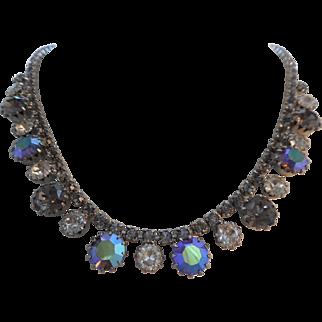 Vintage SIGNED WEISS Black Diamond Peacock Blue Austrian Crystal Rhinestone Necklace