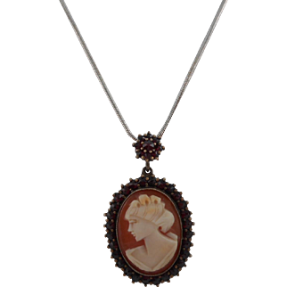 Victorian Gilt Bohemian Garnet Encrusted Left Facing Shell Cameo Pendant