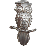 Vintage SIGNED Beau Sterling Silver Wise Old Owl Pin/Brooch