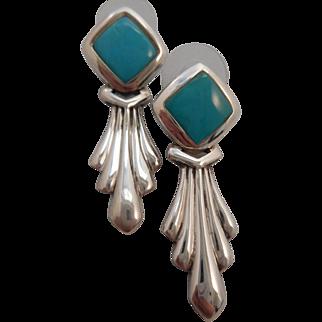 Vintage Hallmarked 925 Sterling Silver Turquoise Dangle Pierced Post Earrings