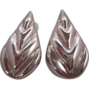 Vintage Signed Taxco Mexico 925 Heavy Sterling Pear Shape Clip Earrings
