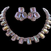 Vintage Emerald Cut AB Austrian Crystal Rhinestone Necklace Earrings Demi Parure