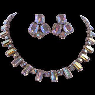 Vintage Emerald Cut AB Austrian Crystal Rhinestone Rhodium Necklace Earrings Demi Parure