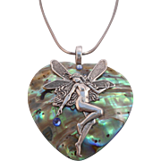 Vintage Abalone Faery Heart Pendant on Sterling 925 Italy Serpentine Chain