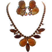 Vintage Honey Gold Brown Molded Glass Rhinestone Necklace Clip Earrings Set