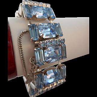 Vintage SIGNED Wiesner of NY Blue Emerald Cut Austrian Crystal Rhinestone Bracelet
