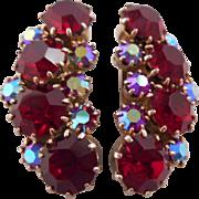 Vintage SIGNED Kramer Ruby Red Peacock Blue AB Rhinestone Ear Climber Earrings