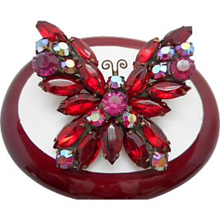 Vintage SIGNED Weiss Red Butterfly Molded Glass Austrian Crystal Rhinestone Brooch Pin