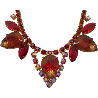 Vintage Red Molded Glass & Austrian Crystal Rhinestone Necklace