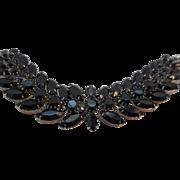 Vintage SIGNED Weiss Black Glass Bracelet