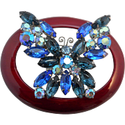 Vintage SIGNED Weiss Cobalt Blue and Aurora Borealis Austrian Crystal Rhinestone Butterfly Brooch/Pin