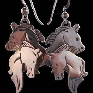 Vintage Sterling Silver Dangling Pierced Horse Earrings