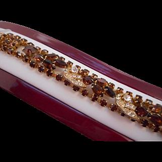 Vintage SIGNED Weiss Brown & Clear Austrian Crystal Rhinestone Bracelet