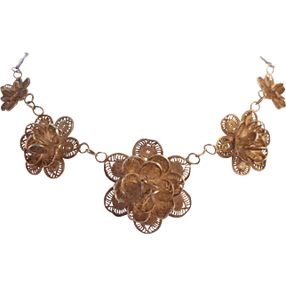 Vintage 1940's Signed Mexico Silver Cannetille Filigree Flower Necklace