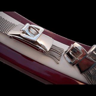 Vintage Victorian Revival Belt Buckle Mesh Fringe Bracelet and Matching Earrings
