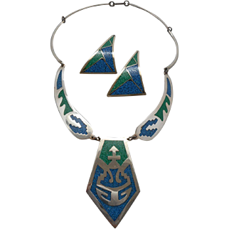 Vintage SIGNED Alpaca Mexico Inlaid Stone Necklace and Matching Pierced Earrings Set