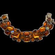 Vintage SIGNED Weiss Poured Glass Austrian Crystal Rhinestone Bracelet