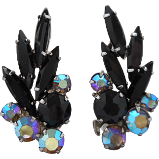 Vintage High End Black Navette and Aurora Borealis Rhinestone Clip Earrings