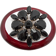 Vintage Black Glass Stone Brooch Pin