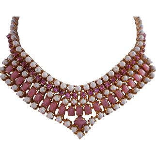 Vintage Milk Glass and Pink Rhinestone Necklace