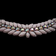 Vintage SIGNED Weiss Milk Glass AB Polychromatic Rhinestone Bracelet