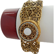 50% OFF Vintage Antiqued Rhinestone & Faux Opal Cuff Bracelet