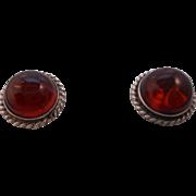 Vintage HALLMARKED 925 Sterling Silver Genuine Amber Pierced Post Earrings