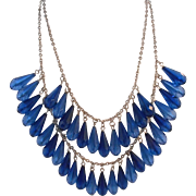 Vintage Sparkling Blue Bead Disco Bib Necklace