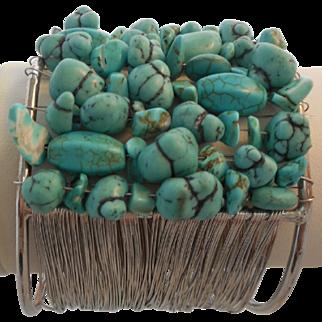 Vintage Faux Turquoise Cuff Bracelet