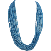 Vintage Blue Seed Bead Multi-Strand Torsade Necklace